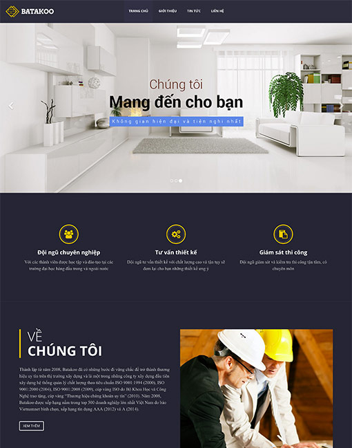 Mẫu giao diện web kinh doanh nội thất