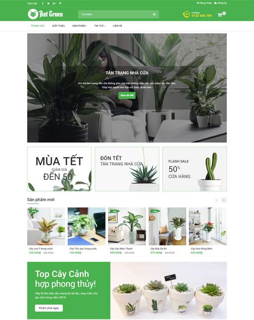 Mẫu website bán cây cảnh và cây phong thủy