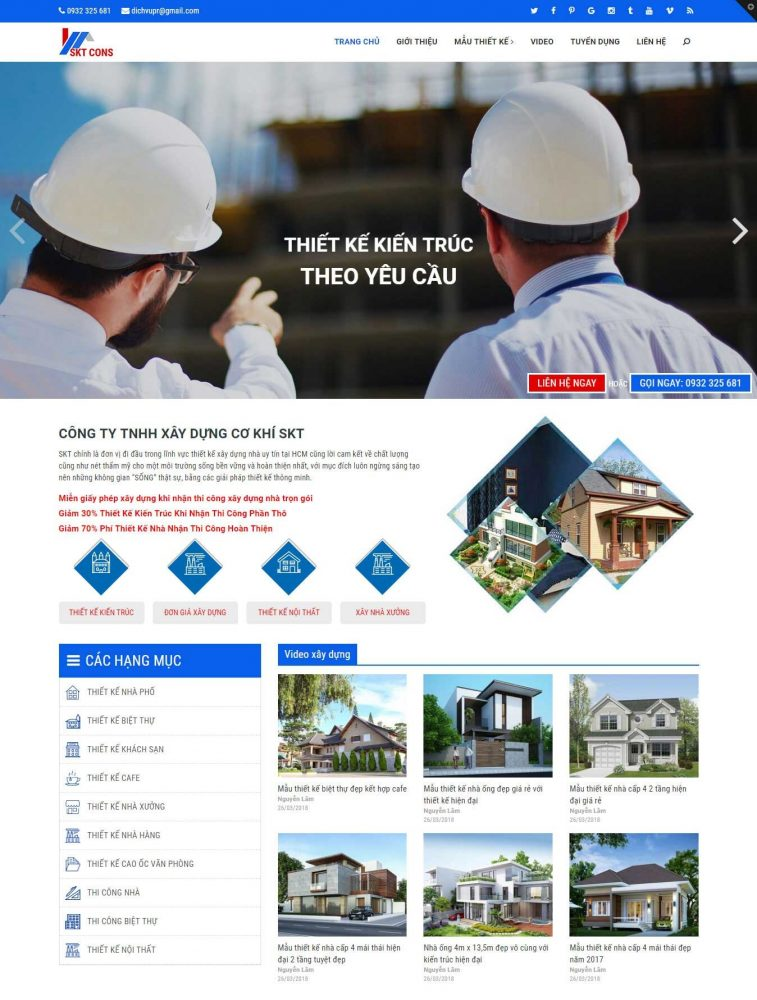 Mẫu website công ty xây dựng cơ khí SKT Cons