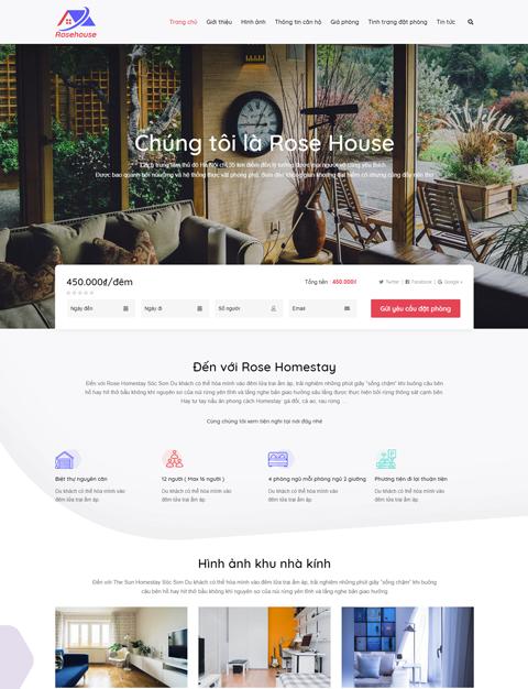 Mẫu website khách sạn homestay Rose