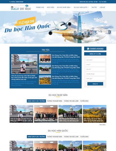 Mẫu website du học Hàn Quốc