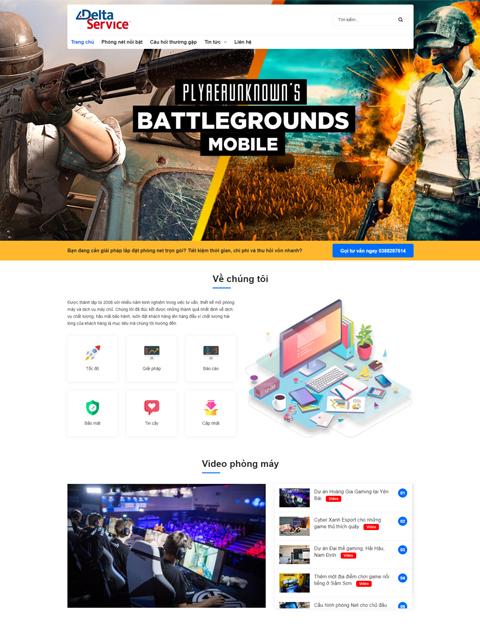 Mẫu web công ty lắp đặt phòng game Delta