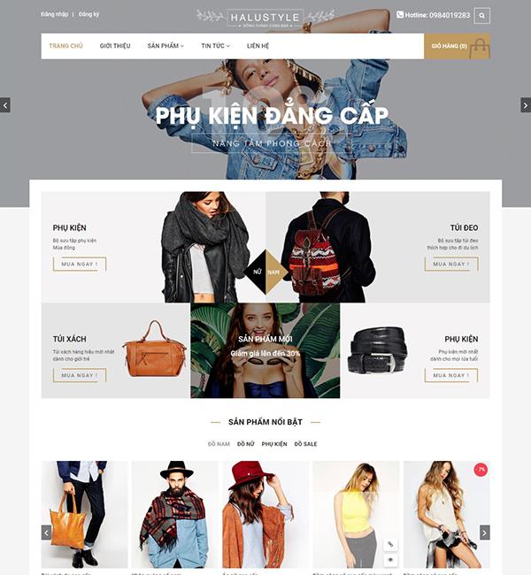 Mẫu web kinh doanh quần áo và phụ kiện Halustyle