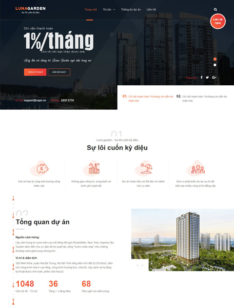 Mẫu website bất động sản LunaGarden