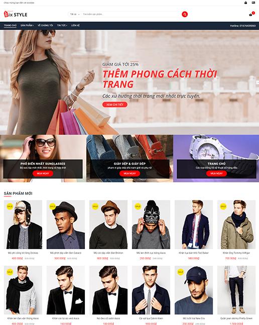 Mẫu website cửa hàng thời trang nam nữ – NEX0040