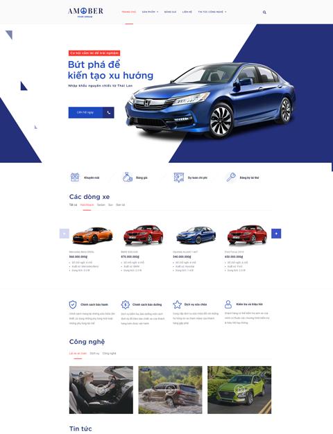 Mẫu web giới thiệu showroom ô tô Amober