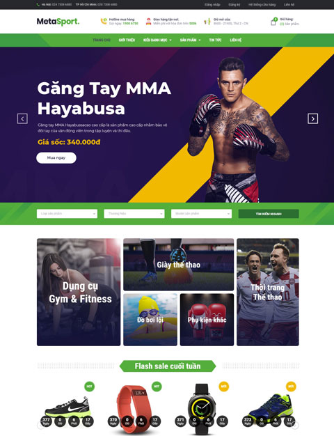 Mẫu website kinh doanh dụng cụ thể thao MetaSport