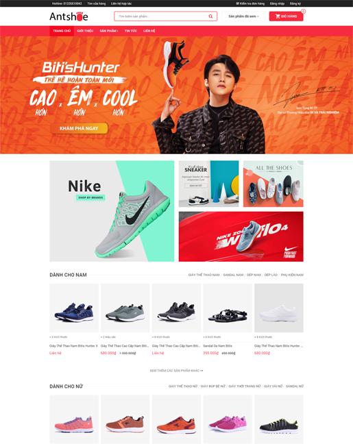 Mẫu website kinh doanh giày thể thao – NEX0038