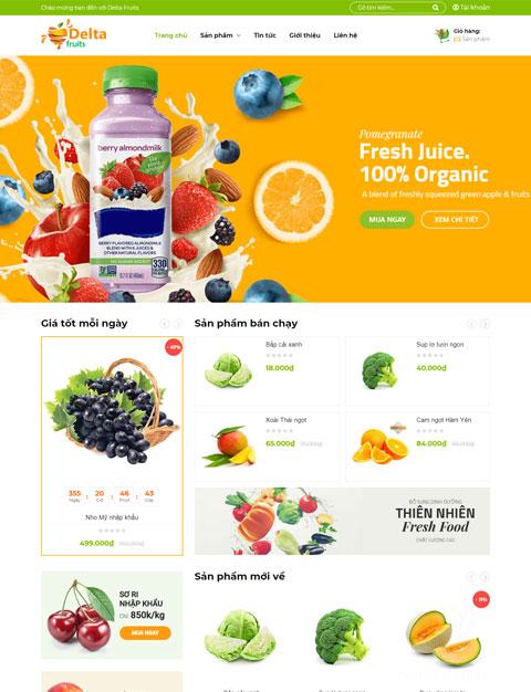 Mẫu website kinh doanh thực phẩm tươi sạch – NEX0039