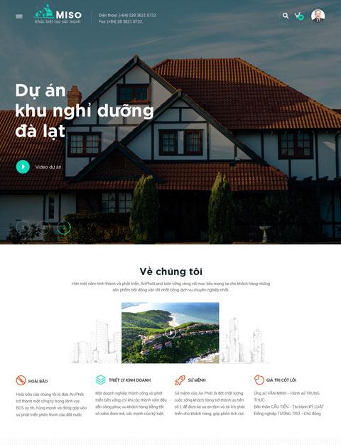 Mẫu website giới thiệu công ty bất động sản Miso