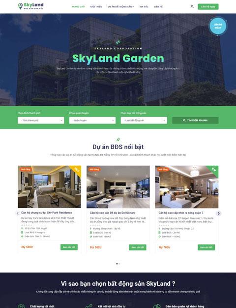 Mấu website giới thiệu công ty bất động sản SkyLand