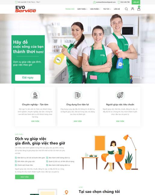Mẫu website công ty dịch vụ giúp việc nhà EvoServices