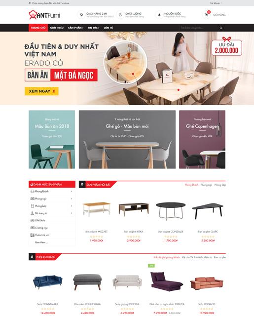 Mẫu web công ty thiết kế nội thất Furniture