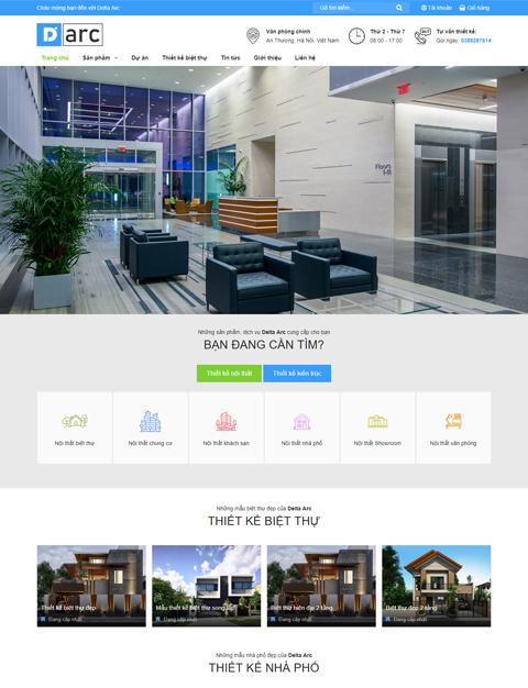 Mẫu website giới thiệu công ty thiết kế nội thất DARC