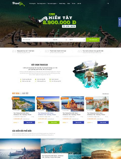 Mẫu website giới thiệu công ty du lịch TravelGo