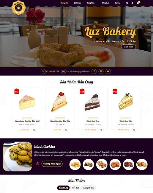 Mẫu website cửa hàng bánh ngọt Luz Bakery