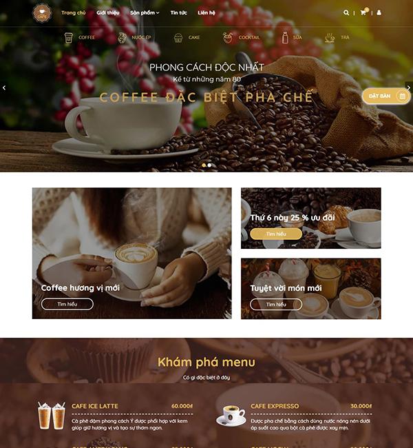 Mẫu giao diện cửa hàng coffee – NEX0019