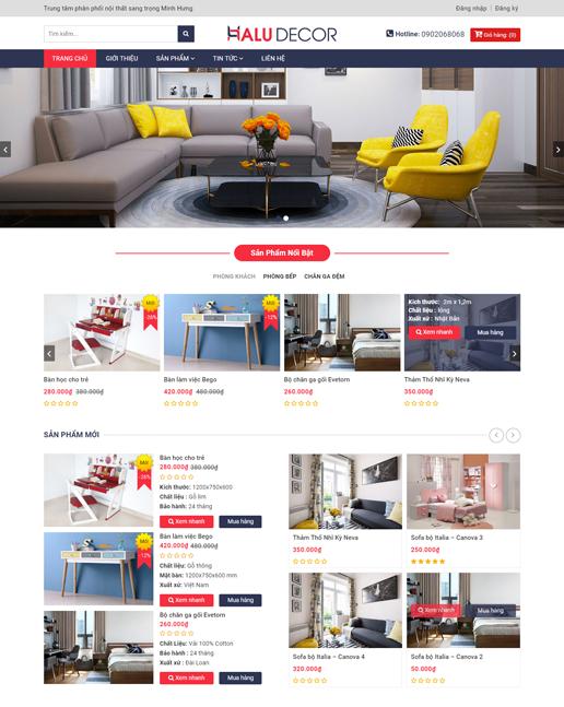 Mẫu web công ty thiết kế và kinh doanh nội thất Minh Hưng