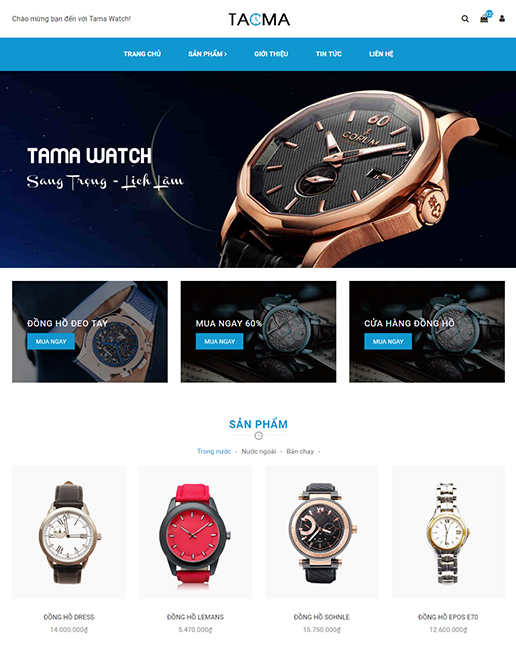 Mẫu website kinh doanh đồng hồ thời trang – NEX0022