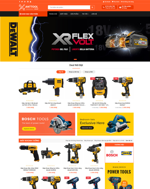 Mẫu website kinh doanh dụng cụ cơ khí – NEX0048