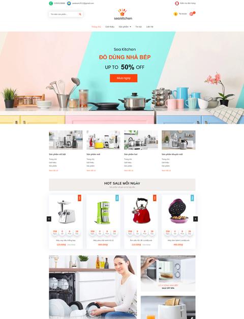 Mẫu web kinh doanh dụng cụ nhà bếp