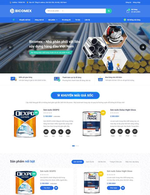 Mẫu website kinh doanh vật liệu xây dựng Bicomex