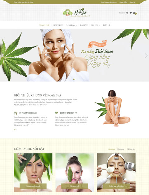 Mẫu website kinh doanh mỹ phẩm Rose