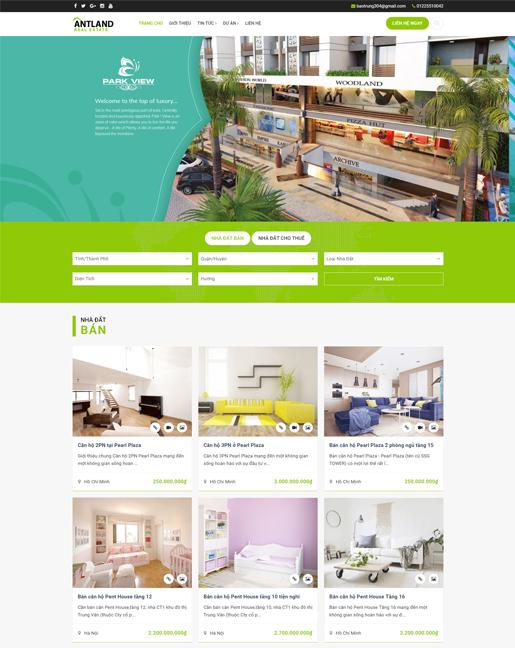 Mấu website giới thiệu công ty bất động sản ANTLand