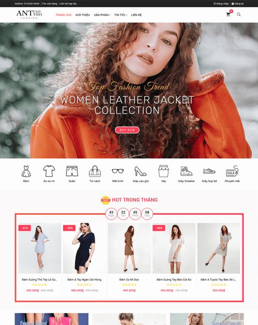 Mẫu giao diện cửa hàng thời trang – NEX0036