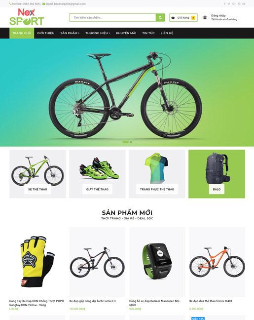 Mẫu web kinh doanh xe đạp và dụng cụ thể thao NexSport