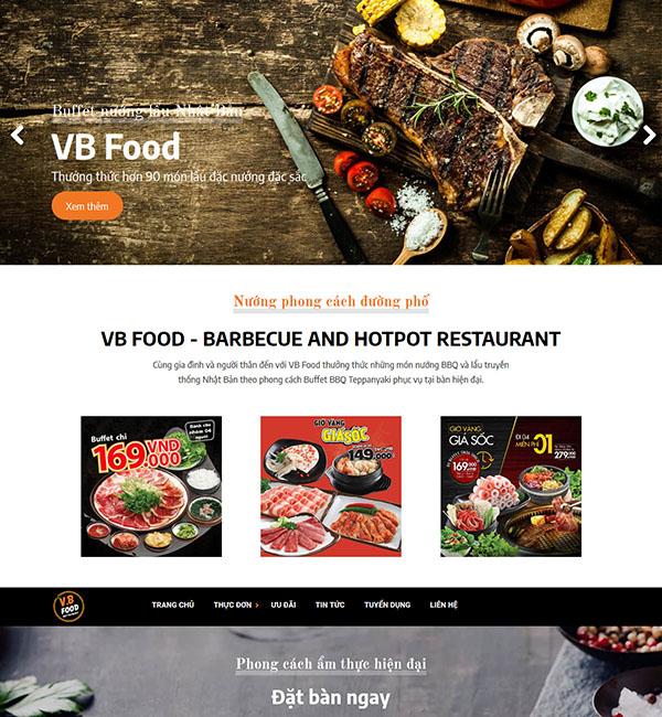Mẫu website giới thiệu nhà hàng VB Food