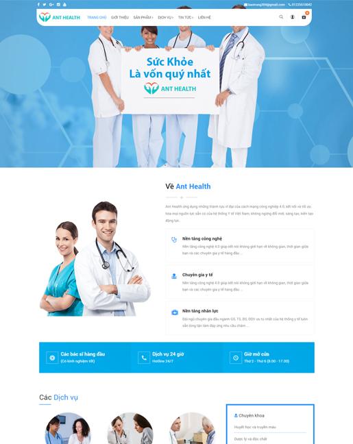 Mẫu website giới thiệu bệnh viện đa khoa – NEX0043