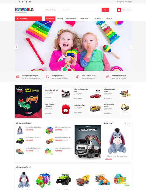 Mẫu website cửa hàng đồ chơi cho bé ToyWorld