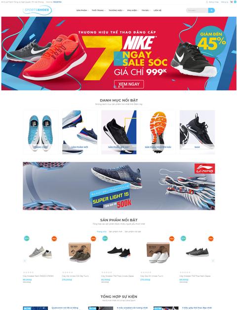 Mẫu giao diện kinh doanh giày thể thao – NEX0042