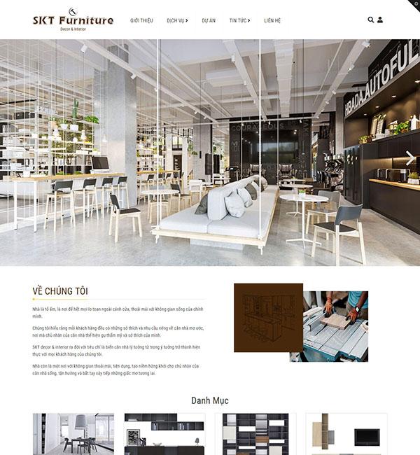 Mẫu website công ty thiết kế nội thất SkyDecor