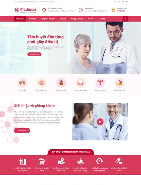 Mẫu website giới thiệu phòng khám đa khoa Medisan