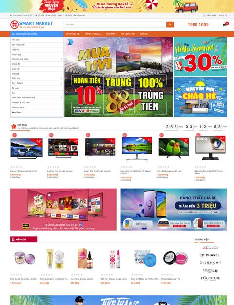 Mẫu website siêu thị trực tuyến Smart Market