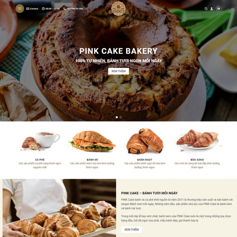Mẫu web bán bánh ngọt 01
