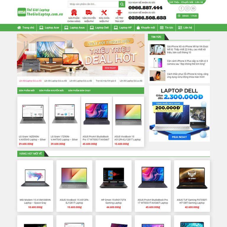 Mẫu web bán laptop 02
