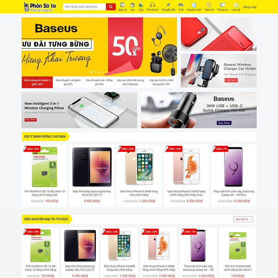 Mẫu web bán phụ kiện điện thoại
