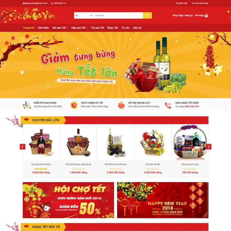 Mẫu web bán quà tết – giới thiệu sản phẩm