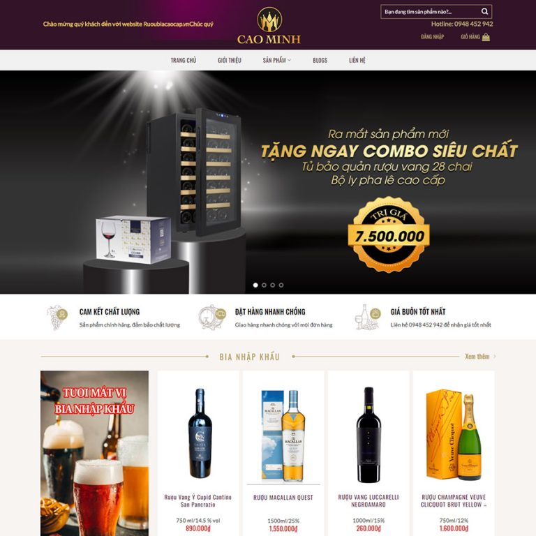 Mẫu web bán rượu 01