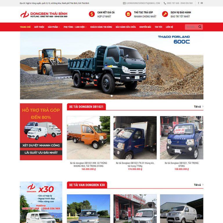 Mẫu web bán xe tải