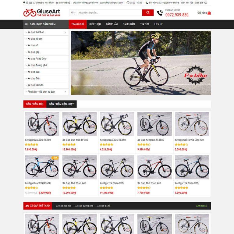 Mẫu web bán xe đạp