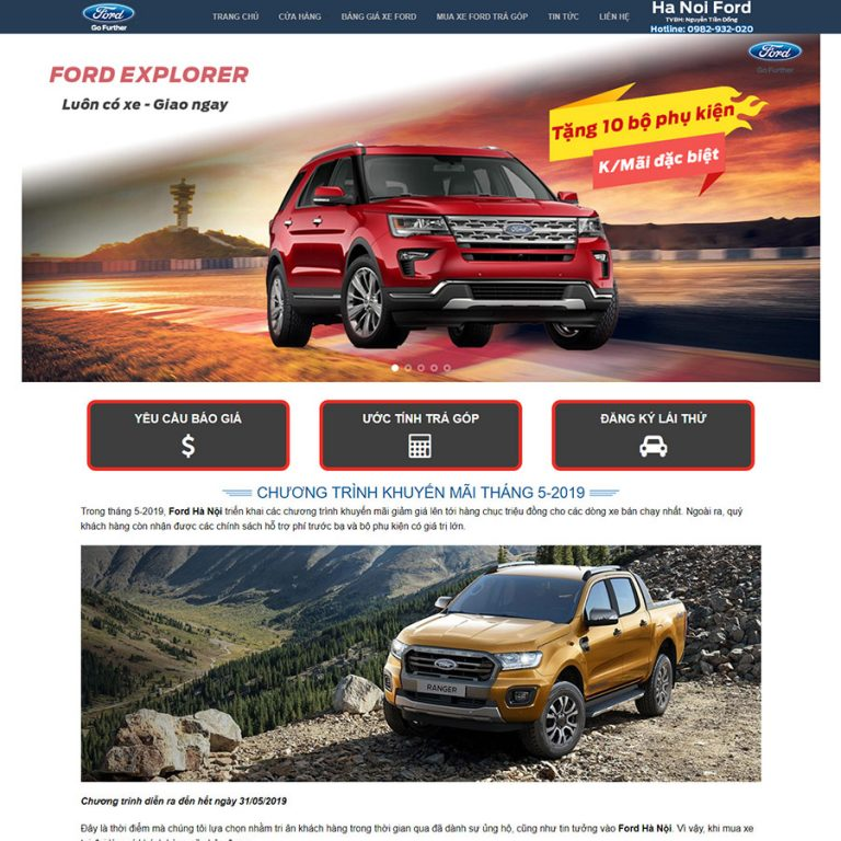 Mẫu web đại lý xe Ford