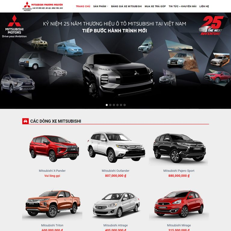 Mẫu web bán xe mitsubishi