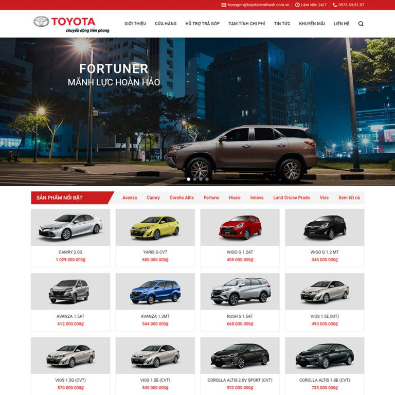 Mẫu web bán xe ô tô Toyota