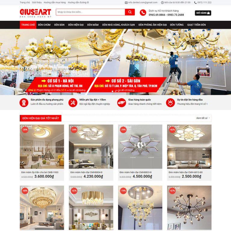 Mẫu web bán đèn trang trí