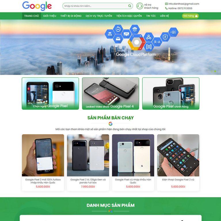 Mẫu web bán điện thoại 02