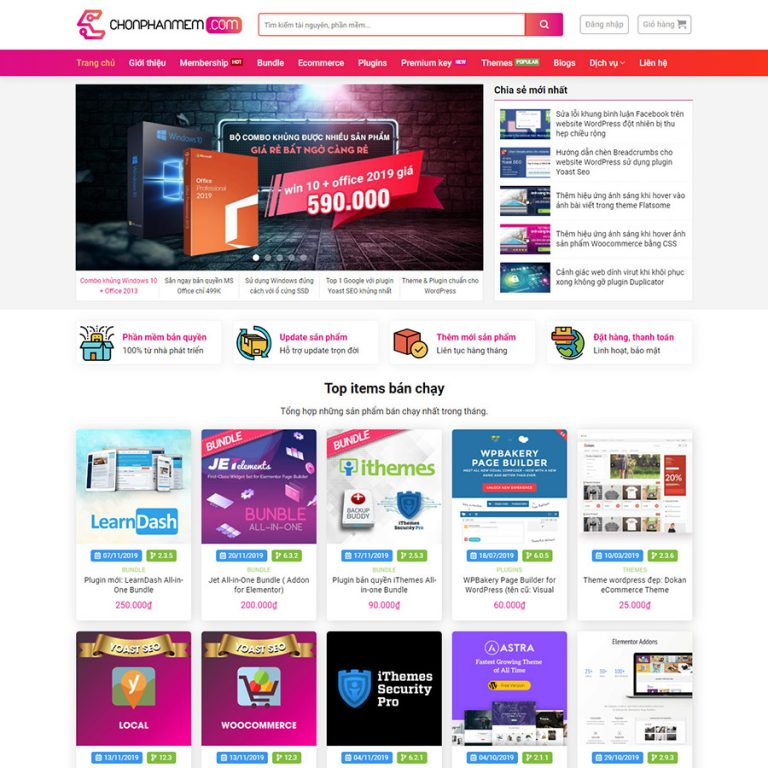 Mẫu web bán source code – phâm mềm